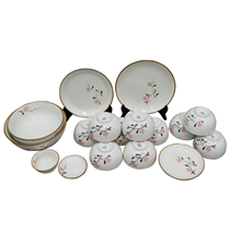 Bộ đồ ăn Bát Tràng -vẽ hoa đào hồng- 17 món