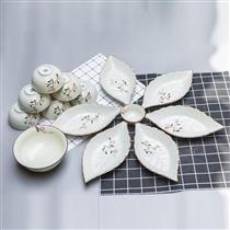 Bộ bát đĩa lá vẽ hoa đào men kem Bát Tràng