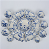 Bộ bát đĩa hoa mặt trời vẽ hoa sen xanh