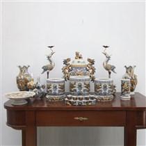 Bộ đồ thờ men rạn đắp nổi rồng phượng dành cho ban thờ 1.75m