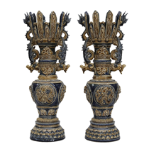 Chân đèn thờ khắc nổi họa tiết rồng - cao 45cm