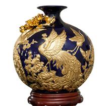 Bình hút tài lộc đắp nổi công thành danh toại dát vàng tây - cao 40cm