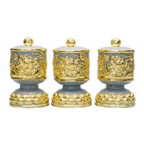 Bộ đài thờ đắp nổi hoa sen dát vàng, cao 25cm