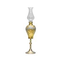 Đèn dầu thờ chân đồng đắp hoa sen dát vàng