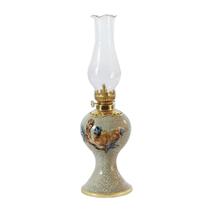 Đèn dầu thờ đắp nổi trúc đào - men rạn nổi - cao 27 cm