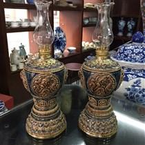 Đèn dầu thờ khắc nổi - họa tiết rồng - men nâu - cao 32 cm