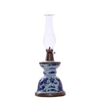 Đèn dầu thờ - men lam cổ - dáng bát to - cao 38 cm