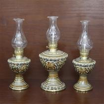 Đèn dầu thờ khắc nổi bọc đồng - cao 28cm