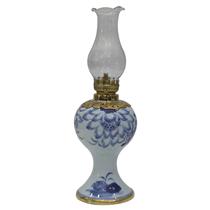Đèn dầu thờ vẽ sen men lam cao 27.5cm