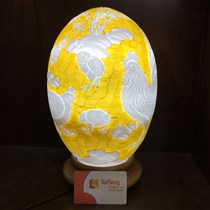 Đèn sứ thấu quang BATO - khắc nổi đàn gà - cao 35cm