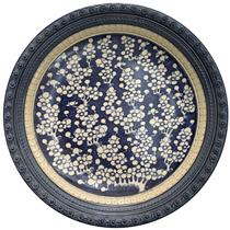Đĩa cảnh - men rạn cổ - viền đắp nổi - vẽ ngàn hoa - đường kính 35cm