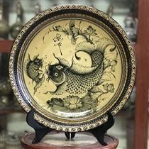 Đĩa cảnh vẽ sen cá đường kính 35cm