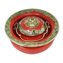 Điếu bát bọc đồng hàng kỹ - men đỏ - đường kính 20 cm