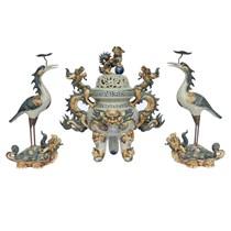 Đỉnh thờ tam sự - đắp nổi họa tiết rồng - men rạn cổ - cao 55 cm
