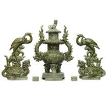 Đỉnh thờ tam sự - Giả cổ - Men xanh - cao 60cm
