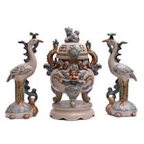 Đỉnh thờ tam sự - men rạn cổ - màu nâu - cao 47cm