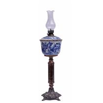 Đèn dầu thờ vẽ sơn thủy - Cao 49cm