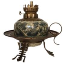 Đèn dầu thờ - dáng đèn đĩa - men rạn cổ - cao 20 cm