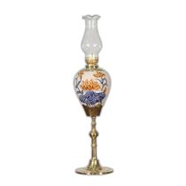 Đèn dầu thờ khắc nổi hoa sen chân đồng cao 37cm