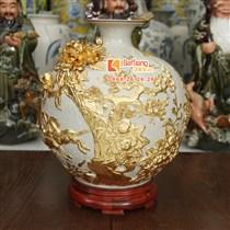 Bình hút tài lộc mã đáo thành công - dát vàng 9999 - cao 41cm