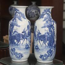 Lục bình - vẽ Tùng Hươu- men lam - cao 52 cm, đường kính miệng 16cm