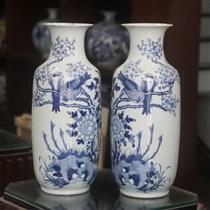 Lục bình - chim Trĩ hoa Phù Dung - men lam - cao 52 cm, đường kính miệng 18cm