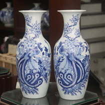 Tiểu Lục bình - vẽ Công Đào men lam - cao 52 cm