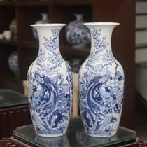 Lộc bình- vẽ Trĩ Đào- men lam- cao 52cm