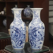 Lộc bình- vẽ Trĩ Đào- men lam- cao 60cm