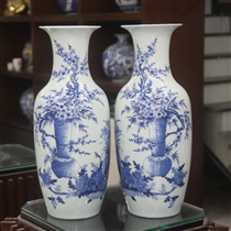 Lộc bình- vẽ cảnh Đào sen- men lam- cao 60cm