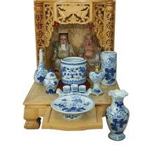 Bộ đồ thờ vẽ tay men lam - bàn thờ thần tài