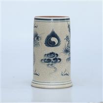 Ống hương men rạn vẽ rồng - cao 23cm