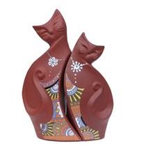 Gốm trang trí đôi mèo hạnh phúc