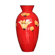 Bình sơn mài dáng thắt vẽ hoa lan nền đỏ cao 33cm
