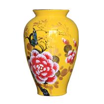 Bình sơn mài đùi dế vẽ hoa mẫu đơn nền vàng cao 28cm