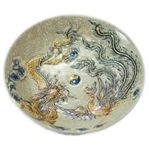 Mâm bồng Rồng Phượng - men rạn cổ - đường kính 23 cm