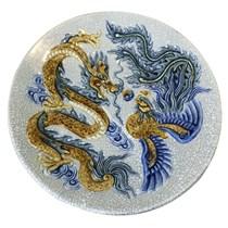 Mâm bồng Rồng Phượng - men rạn cổ - đường kính 35 cm