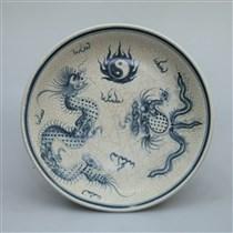 Mâm bồng men rạn vẽ rồng phượng - đường kính 32cm