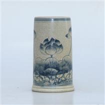 Ống hương men rạn vẽ sen - cao 20cm