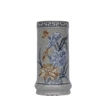 Ống đựng hương đắp nổi hoa sen - men rạn cổ - cao 17 cm - đường kính 8 cm