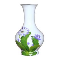 Tỏi sơn mài vẽ hoa tím nền trắng cao 38cm