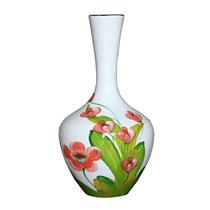 Tỏi sơn mài cổ thẳng vẽ hoa lan nền trắng cao 35cm