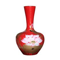 Tỏi sơn mài cổ thẳng vẽ hoa sen nền đỏ cao 40cm