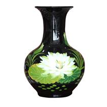 Tỏi sơn mài đại vẽ hoa sen trắng cao 36cm