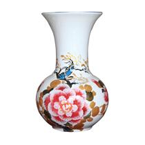 Tỏi sơn mài miệng loe vẽ hoa mẫu đơn nền trắng cao 30cm