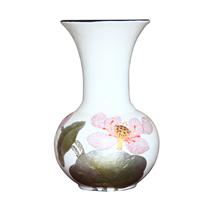 Tỏi sơn mài miệng loe vẽ hoa sen nền trắng cao 30cm