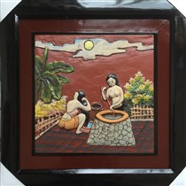Tranh gốm Bát Tràng - hai cô gái 02 - 50x50cm