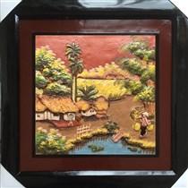 Tranh gốm cảnh đồng quê 03 - 50x50cm