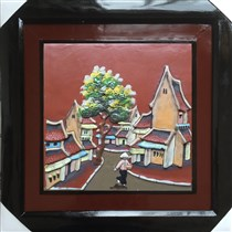 Tranh gốm vẽ phố cổ 01 - 50x50cm