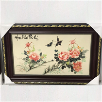 Tranh sứ vẽ hoa khai phú quý